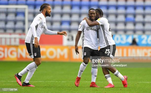 Fulham's Neeskens Kebano celebrates scoring his teams first goal to make the score 1-1 during the Sky Bet Championship match between Wigan Athletic...