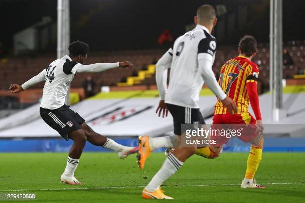 Fulham's Nigerian defender Ola Aina scores his team's second goal during the English Premier League football match between Fulham and West Bromwich...