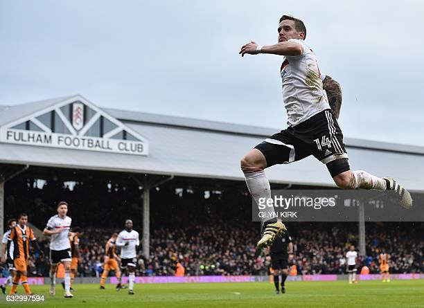 Fulham's Norwegian midfielder Stefan Johansen celebrates scoring their fourth goal during the English FA Cup fourth round football match between...