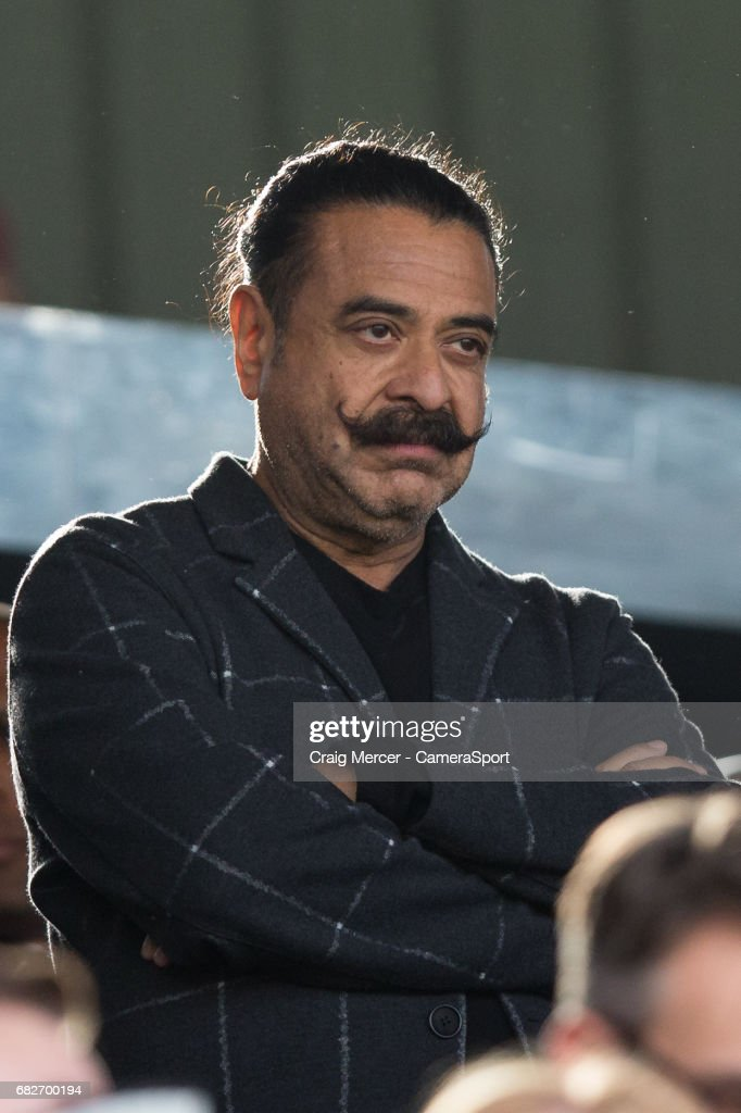 Fulham's owner and Chairman Shahid Khan looks on during the Sky Bet Championship match between Fulham and Reading at Craven Cottage on May 13, 2017 in London, England.