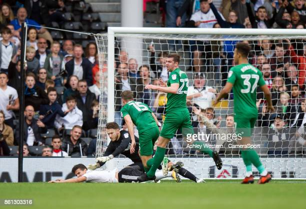 Fulham's Rui Fonte awarded a penalty after going down under the challenge of Preston North End's Calum Woods by Referee D England during the Sky Bet...