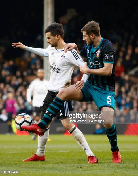 Fulham's Rui Fonte battle for possession of the ball with Southampton's Jack Stephens during the FA Cup third round match at Craven Cottage London