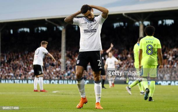 Fulham's Ryan Fredericks reacts to a missed chance during the Sky Bet Championship Playoff match at Craven Cottage London