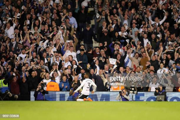 Fulham's Ryan Sessegnon celebrates scoring his teams 1st goal in front of the celebrating fans during the Sky Bet Championship Play Off Semi Final...