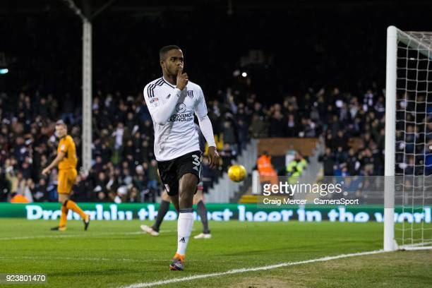 Fulham's Ryan Sessegnon celebrates scoring the opening goal during the Sky Bet Championship match between Fulham and Wolverhampton Wanderers at...