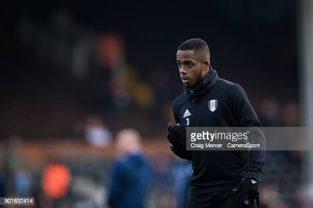 Fulham's Ryan Sessegnon during the prematch warmup of the Emirates FA Cup Third Round match between Fulham and Southampton at Craven Cottage on...