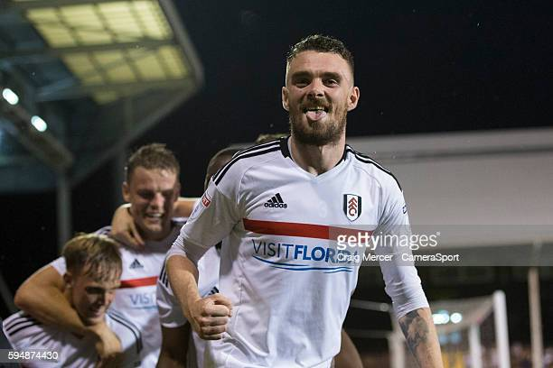 Fulham's Scott Malone celebrates his sides second goal during the EFL Cup Second Round match between Fulham and Middlesbrough at Craven Cottage on...