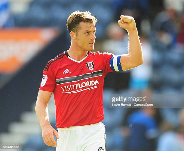 Fulham's Scott Parker celebrates his sides victory during the EFL Sky Bet Championship match between Preston North End and Fulham at Deepdale on...