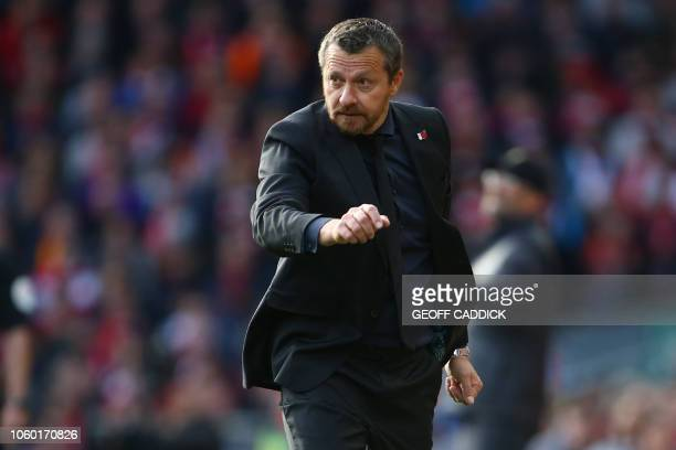 Fulham's Serbian manager Slavisa Jokanovic gestures on the touchline during the English Premier League football match between Liverpool and Fulham at...
