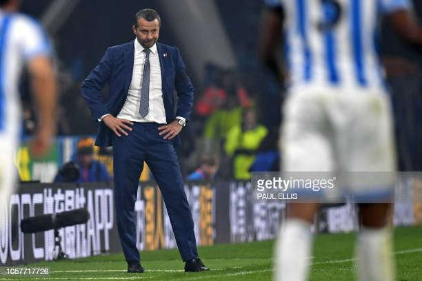 Fulham's Serbian manager Slavisa Jokanovic looks on during the English Premier League football match between Huddersfield Town and Fulham at the John...