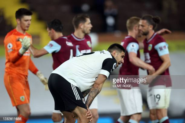 Fulham's Serbian striker Aleksandar Mitrovic reacts after the English Premier League football match between Fulham and Burnley at Craven Cottage in...