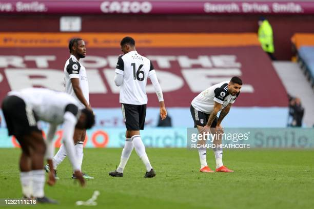 Fulham's Serbian striker Aleksandar Mitrovic reacts at the final whistle during the English Premier League football match between Aston Villa and...