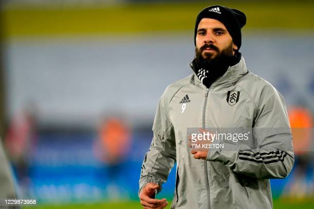 Fulham's Serbian striker Aleksandar Mitrovic warms up ahead of the English Premier League football match between Leicester City and Fulham at King...