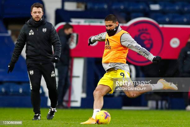 Fulham's Serbian striker Aleksandar Mitrovic warms up ahead of the English Premier League football match between West Bromwich Albion and Fulham at...