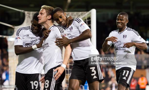 Fulham's Stefan Johansen celebrates scoring his side's second goal during the Sky Bet Championship match between Fulham and Hull City at Craven...