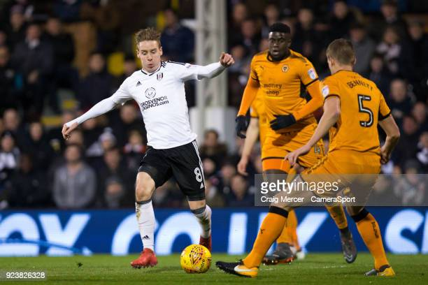 Fulham's Stefan Johansen in action during the Sky Bet Championship match between Fulham and Wolverhampton Wanderers at Craven Cottage on February 24...