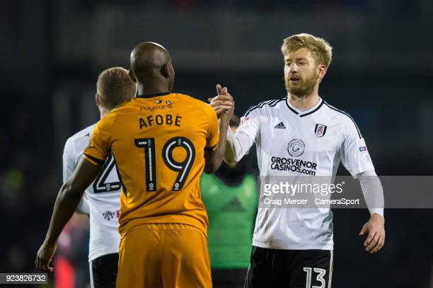 Fulham's Tim Ream shakes hands with Wolverhampton Wanderers' Benik Afobe at the final whistle during the Sky Bet Championship match between Fulham...