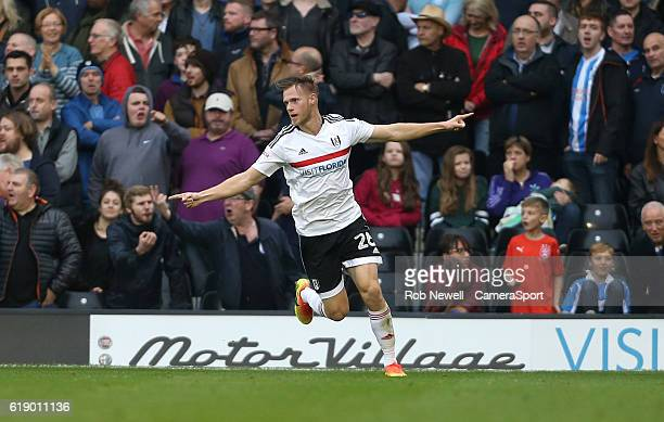 Fulham's Tomas Kalas celebrates scoring his sides second goal during the Sky Bet Championship match between Fulham and Huddersfield Town at Craven...