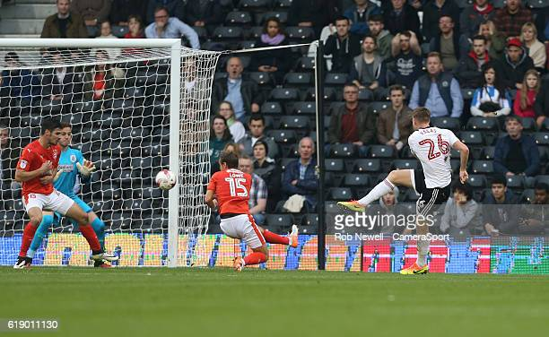 Fulham's Tomas Kalas scores his sides second goal during the Sky Bet Championship match between Fulham and Huddersfield Town at Craven Cottage on...