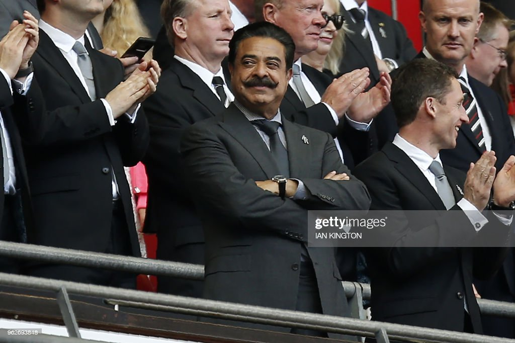 Fulham's US owner Shahid Khan looks on ahead of the English Championship play-off final football match between Aston Villa and Fulham at Wembley Stadium in London on May 26, 2018. (Photo by Ian KINGTON / AFP) / NOT