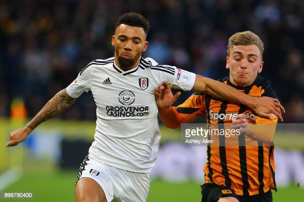 Fulhams's Ryan Fredericks battles with Hull City's Jarrod Bowen during the Sky Bet Championship match between Hull City and Fulham at KCOM Stadium on...