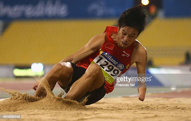 Fuliang Liu of China competes in the men's long jump T47 final during the Evening Session on Day Seven of the IPC Athletics World Championships at...