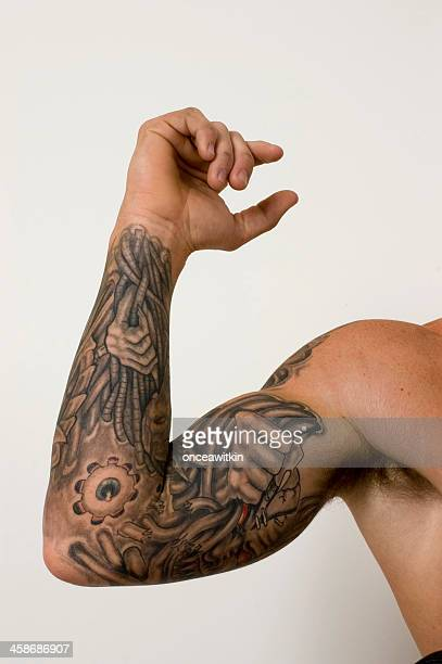 full arm tattoo - male armpits stock pictures, royalty-free photos & images