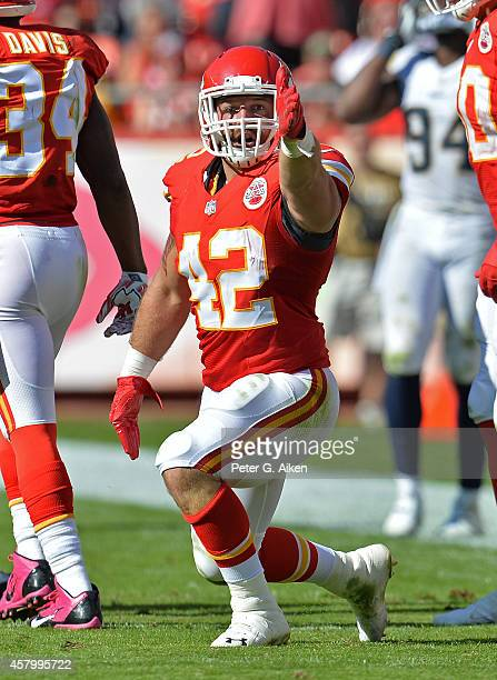 Full back Anthony Sherman of the Kansas City Chiefs reacts after getting a first down against the St Louis Rams during the second half on October 26...