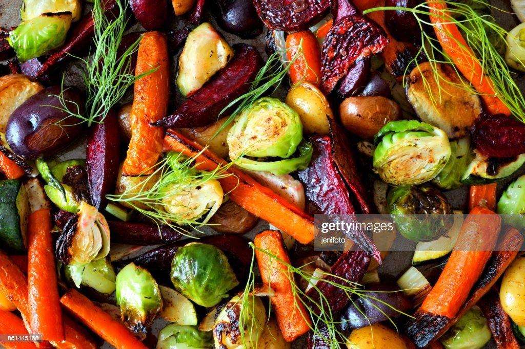 Full background of roasted autumn vegetables : Stock Photo