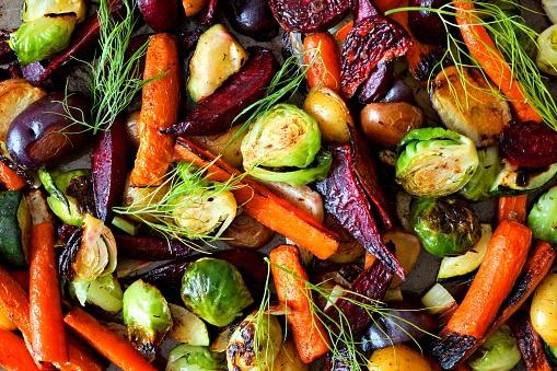 Full background of roasted autumn vegetables 861445168