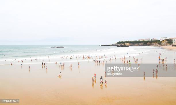 full beach - aquitaine stock photos and pictures