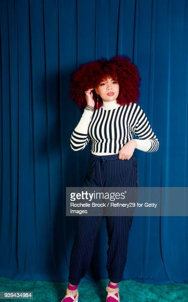 Full Body Beauty Portrait of Young Confident Woman with Natural Hair