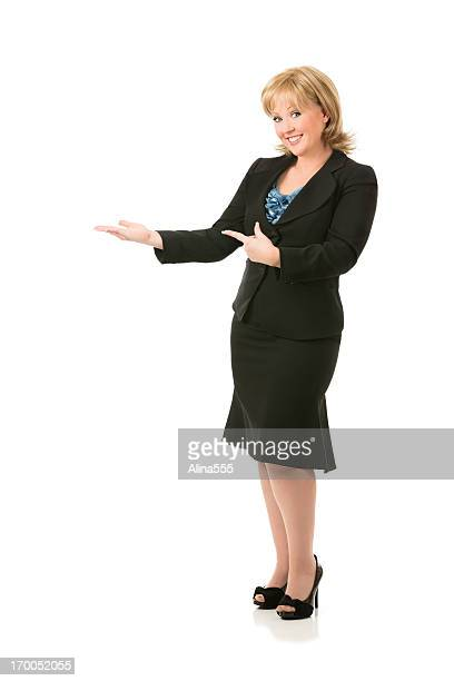 full body portrait of a blond businesswoman on white - animal finger stock photos and pictures