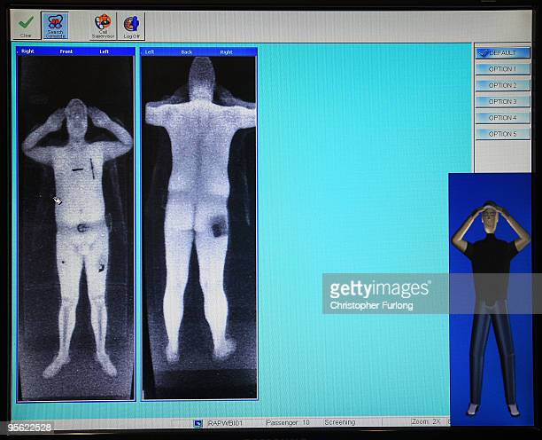 A full body scan image on a computer screen on trial at Manchester Airport on January 7 2010 in Manchester England The scanner xrays to the depth of...