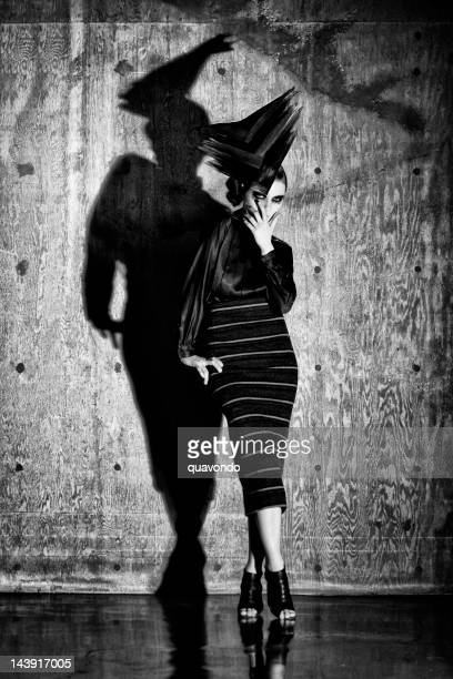 avant-garde fashion model with updo hairstyle, full body - high fashion stock pictures, royalty-free photos & images