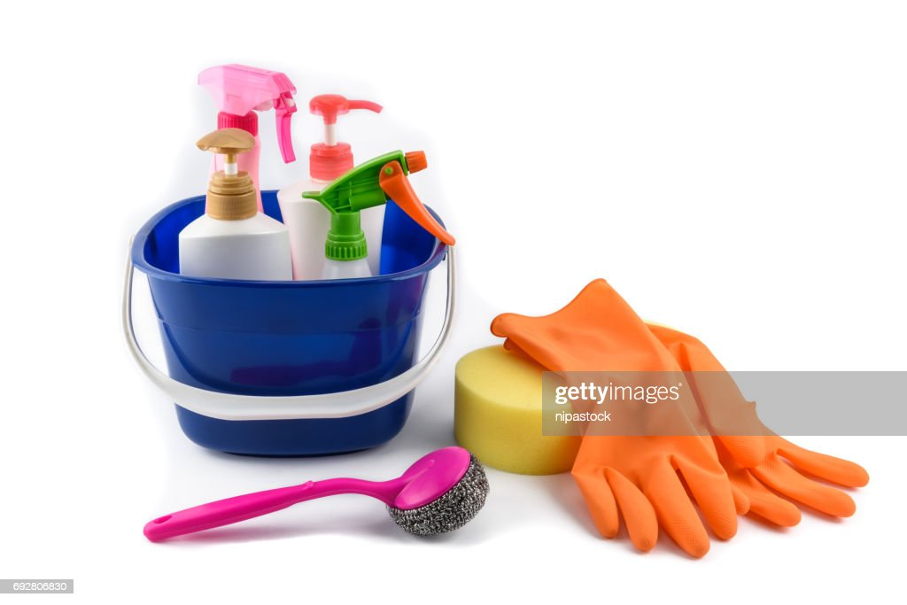 full box of cleaning supplies and gloves isolated