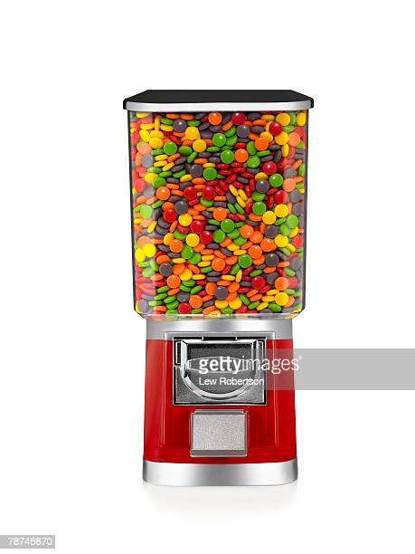 full candy machine - gumball machine stock pictures, royalty-free photos & images