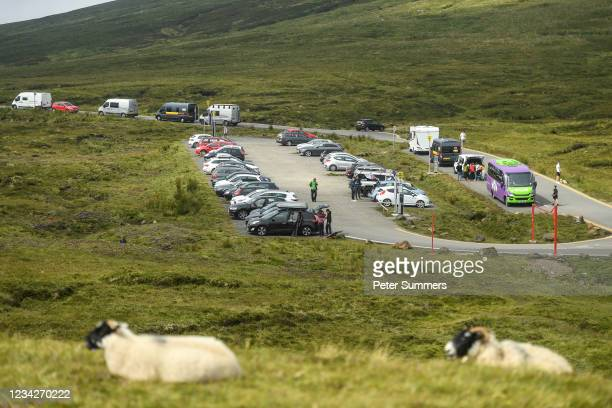 Full carpark is seen at the Quiraing on July 26, 2021 in Staffin, Scotland. Skye and Raasay attracted 650,000 visitors in pre-covid 2019 with a...