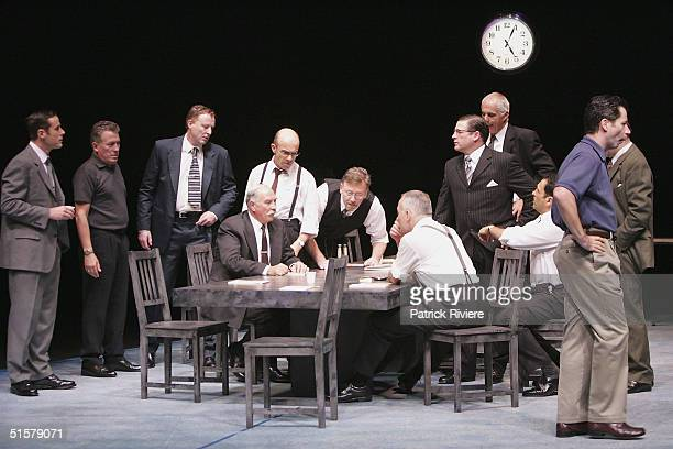 Full cast perform during a photo call for Reginald Rose's '12 Angry Men' at the Sydney Theatre October 27 2004 in Sydney Australia