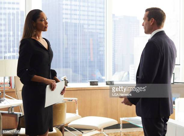 """Full Disclosure"""" Episode 707 -- Pictured: Gina Torres as Jessica Pearson, Gabriel Macht as Harvey Specter --"""