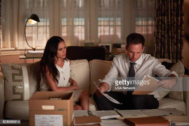 SUITS 'Full Disclosure' Episode 707 Pictured Meghan Markle as Rachel Zane Patrick J Adams as Michael Ross