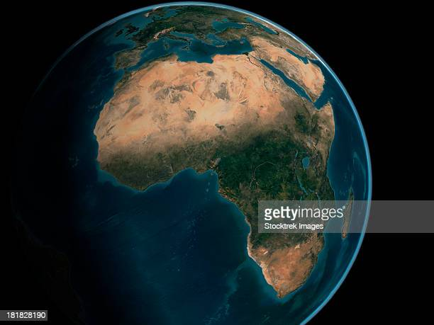 Full Earth from space above the African continent.