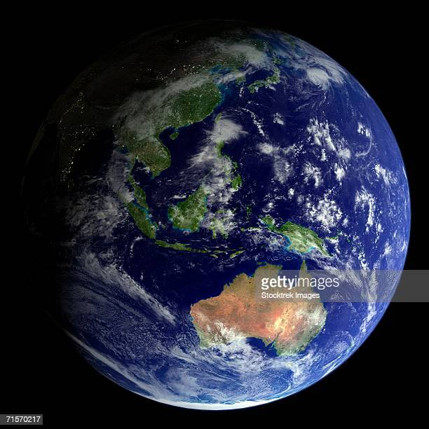 full earth from space showing australia - asia pac stock pictures, royalty-free photos & images