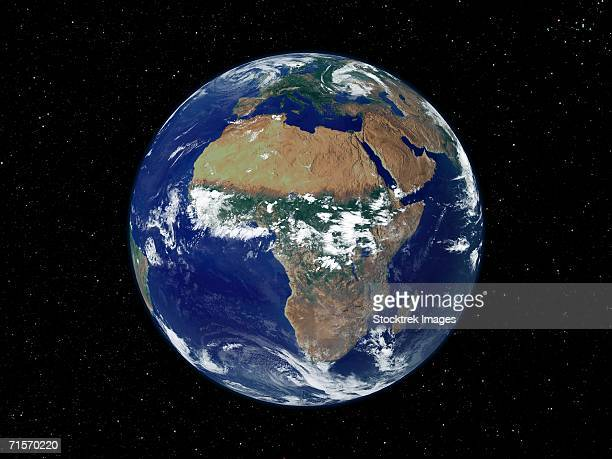 Full Earth showing Africa and Europe during day.