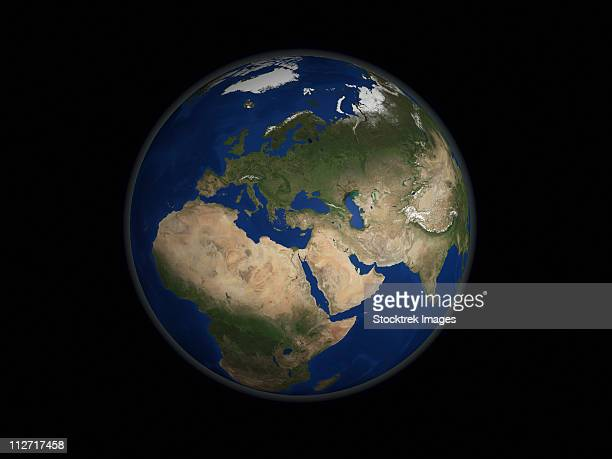 Full Earth view showing Africa, Europe, the Middle East, and India.