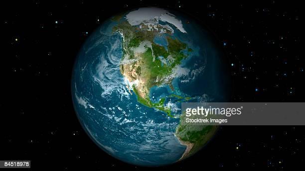 full earth view showing north america. - noord & zuid amerika stockfoto's en -beelden