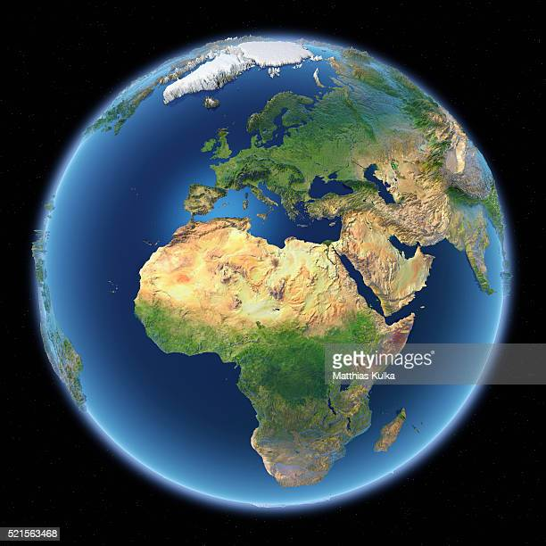 Full earth view with topographical superelevation. Europe, Africa