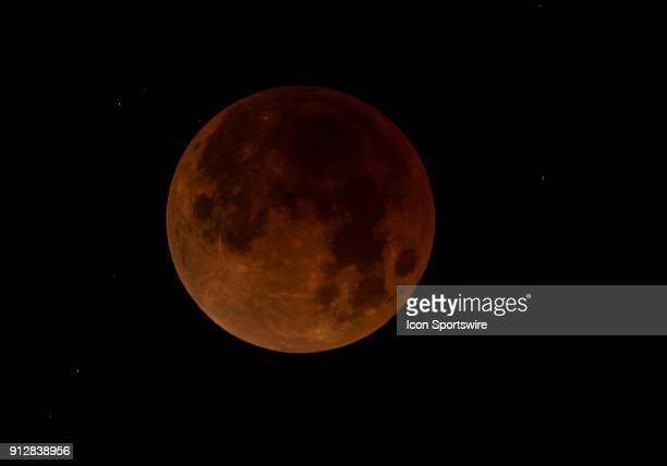 Full eclipse stage of the Super Blood Moon on Tuesday January 31 2018 from the East Bay Area Union City California