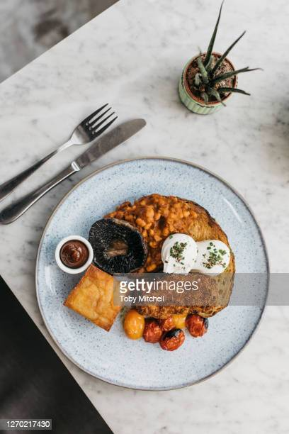 full english breakfast on restaurant table - bath england stock pictures, royalty-free photos & images