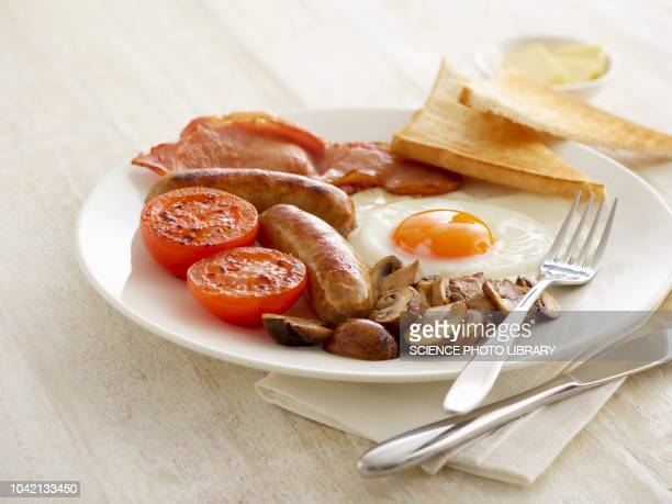 full english breakfast served on a plate - british culture stock pictures, royalty-free photos & images